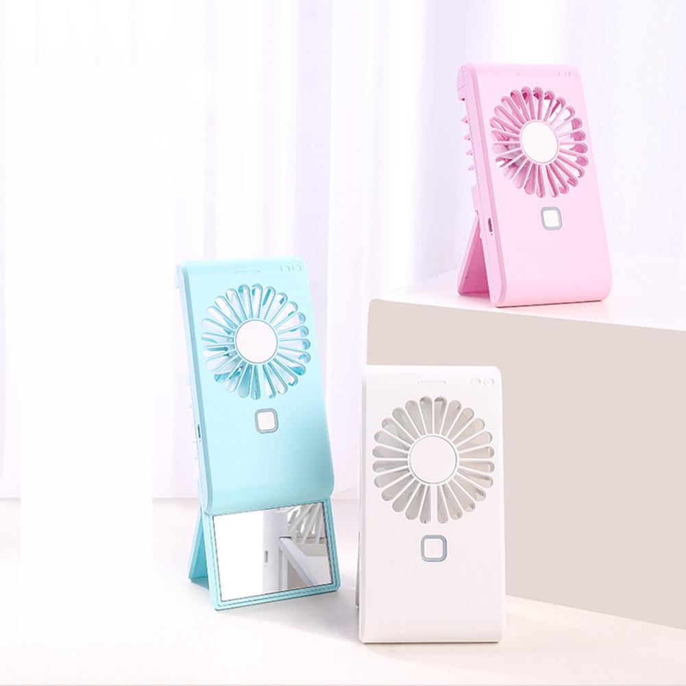 Portable Handy Fan with Mirror Desktop Table Electric Small Fan Summer Cooler  blue