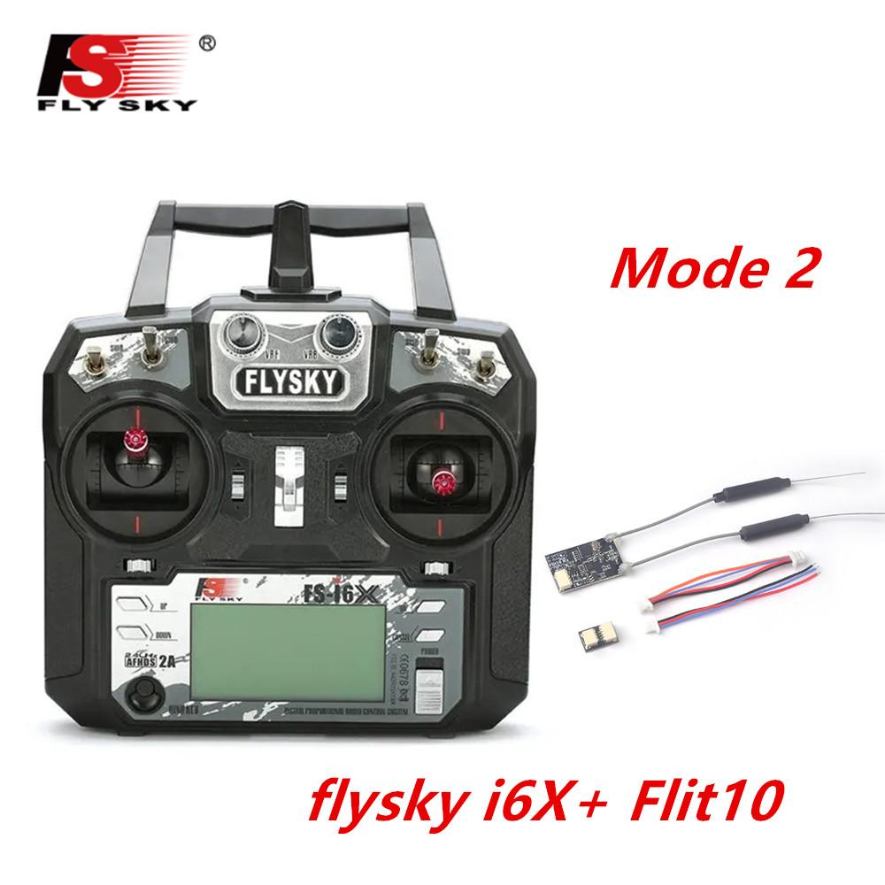 FLYSKY FS-i6X FS i6X 2.4GHz 10CH AFHDS 2A RC Transmitter X6B iA6B A8S iA10B iA6 Fli14+ Receiver for RC FPV Racing Drone Left hand single control+Flit10