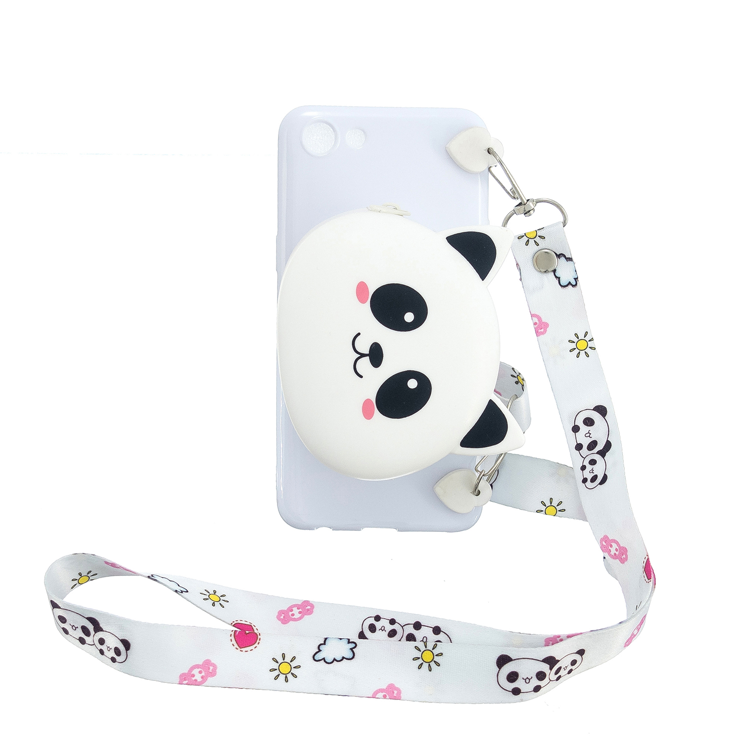 For OPPO A83/A9 2020 Cellphone Case Mobile Phone TPU Shell Shockproof Cover with Cartoon Cat Pig Panda Coin Purse Lovely Shoulder Starp  White
