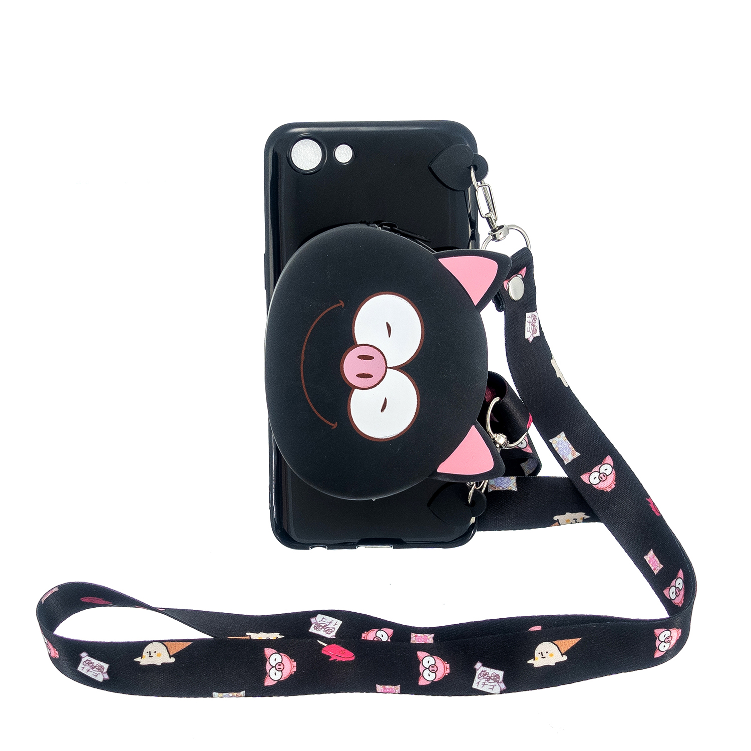 For OPPO A83/A9 2020 Cellphone Case Mobile Phone TPU Shell Shockproof Cover with Cartoon Cat Pig Panda Coin Purse Lovely Shoulder Starp  Black