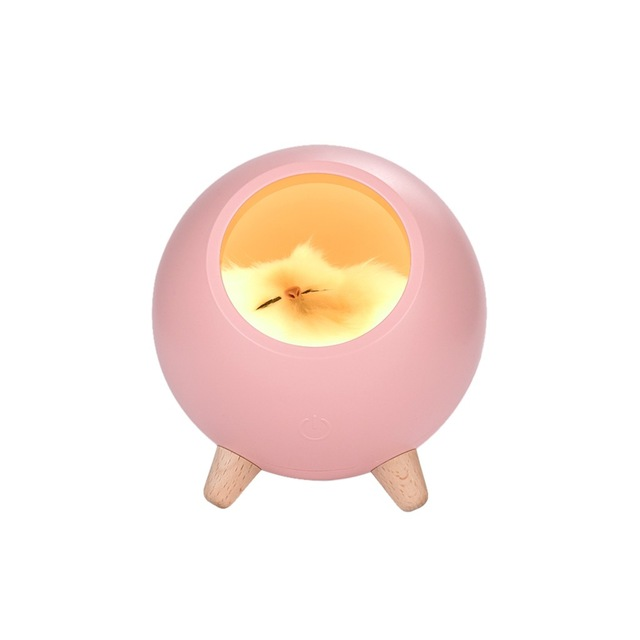 Cat Pet House Ambience Lamp Cartoon LED Night Light Cute Little Cat Pet House Night Light USB Charging Touch Atmosphere Light Pink