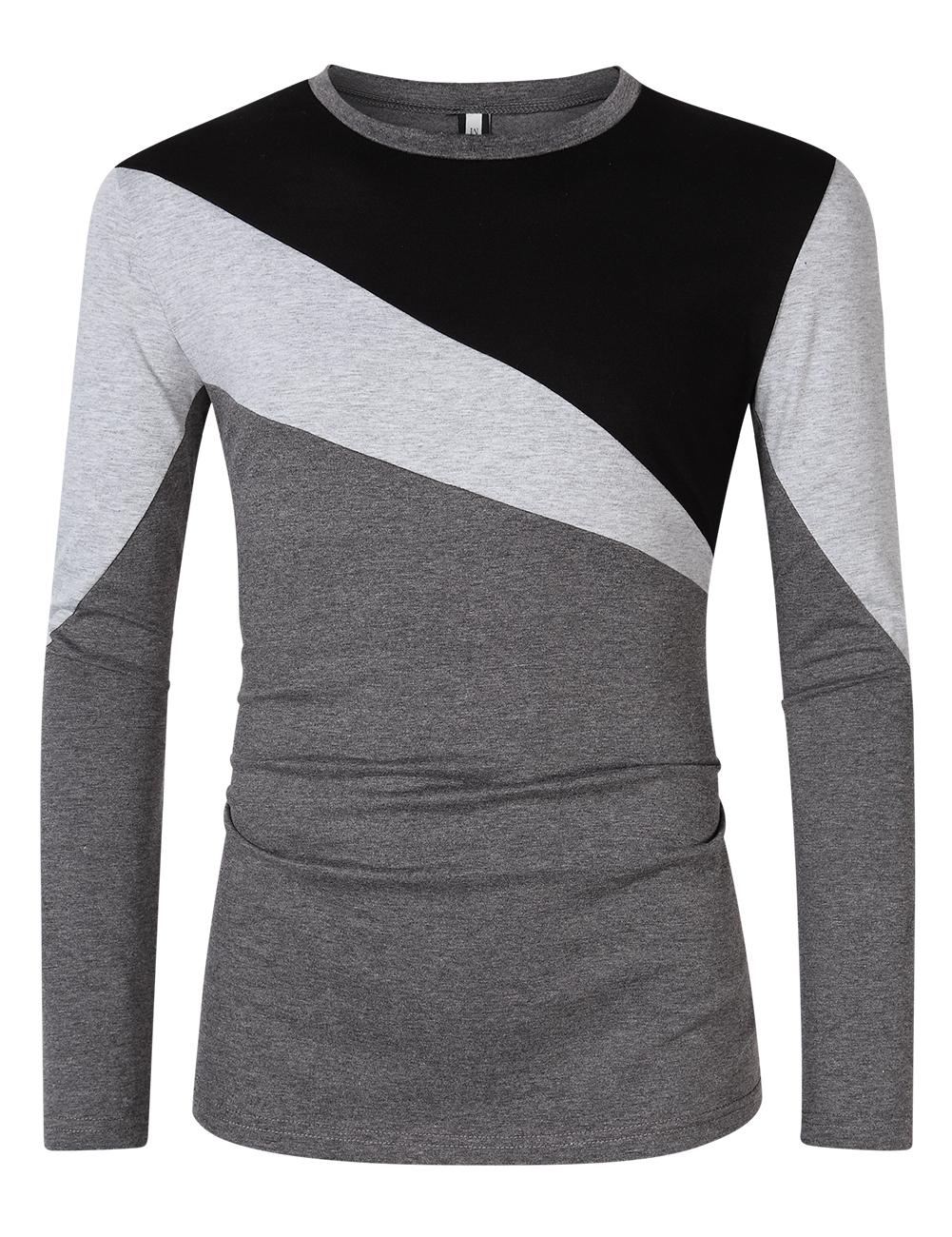 [US Direct] Yong Horse Men's Color Block Slim Fit Crew Neck Long Sleeve Basic T-Shirt