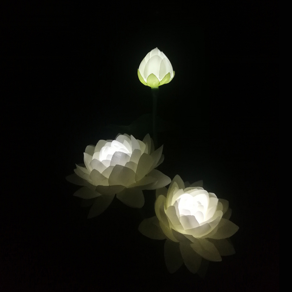 LED Waterproof Solar Power Lamp Lotus Flower Shape Lawn Lamps Night Light for Outdoor Garden Yard Decor 3 lotus white