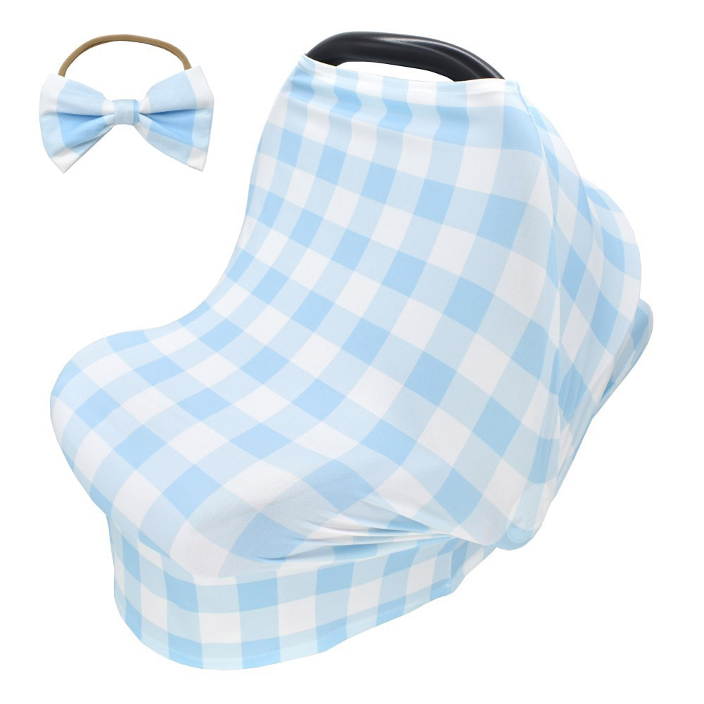 2pcs Stretchy Baby Car Seat Cover + Baby bow headband Multiuse - Nursing Breastfeeding Covers Car Seat Canopies  Sky blue tartan design