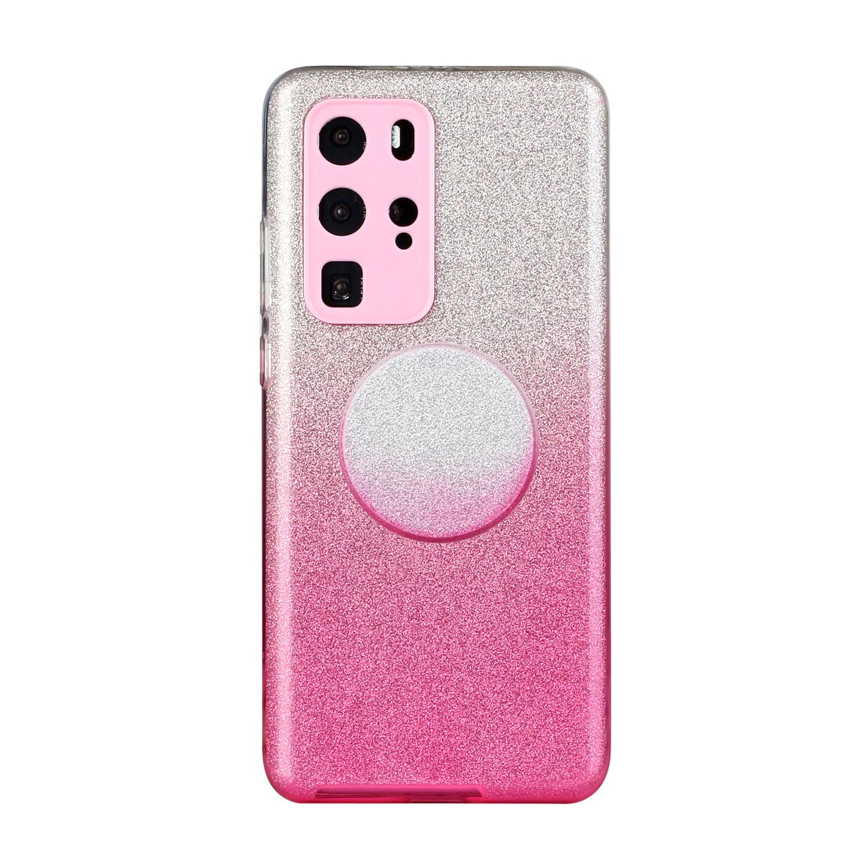 for HUAWEI P20 LITE/P30 LITE/P40 LITE/Nova6SE/Nova 7i Phone Case Gradient Color Glitter Powder Phone Cover with Airbag Bracket Pink