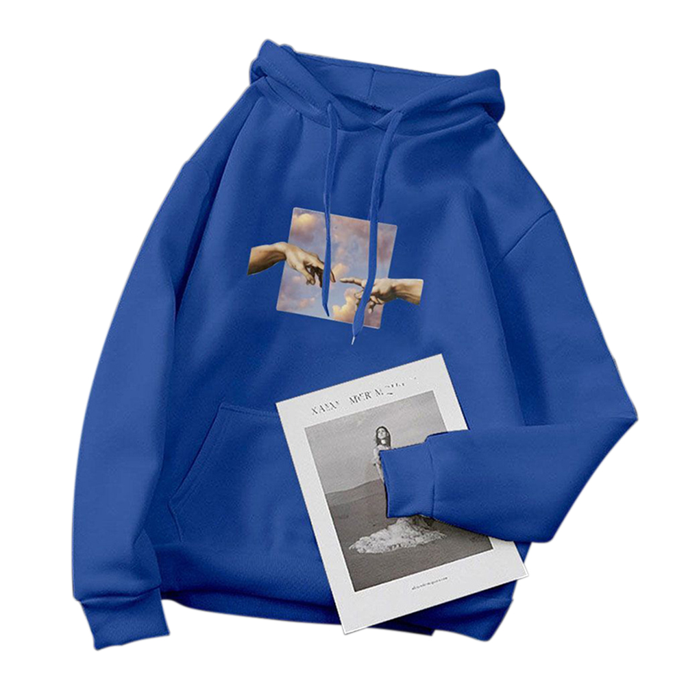 Women's Hoodie Fall Winter Loose Pullover Long-sleeve Printing Hooded Sweat 2XL