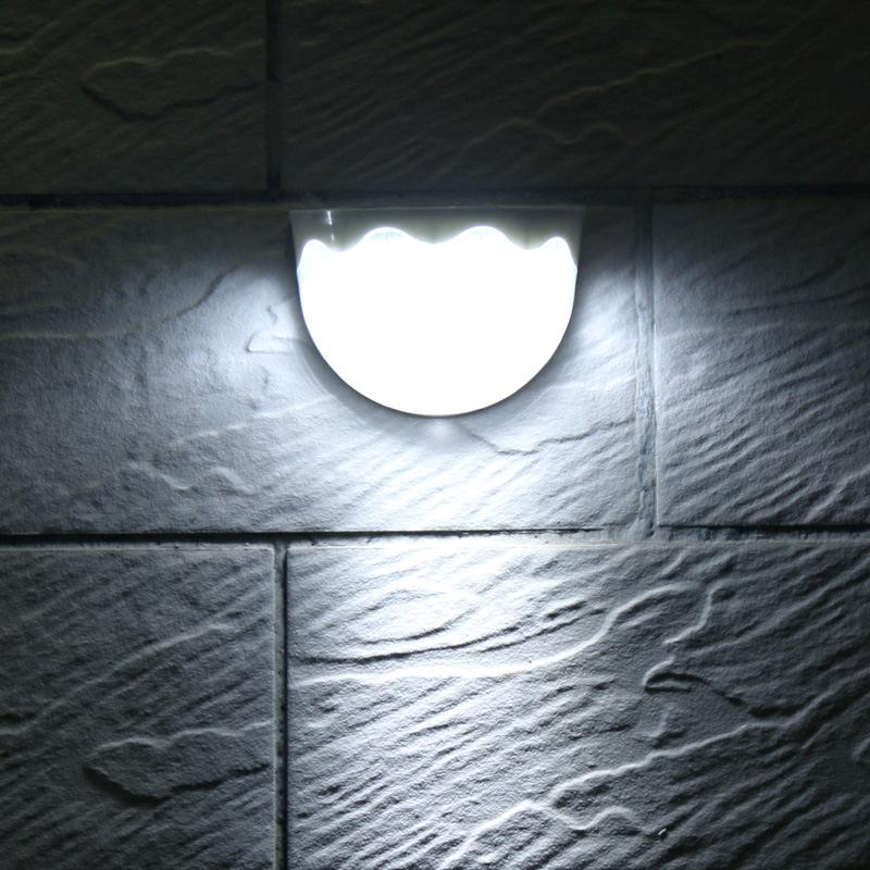 Solar Power lights 6 LED Light Sensor Waterproof Outdoor Wall Lamp for Fence Garden Pathway Balcony White light