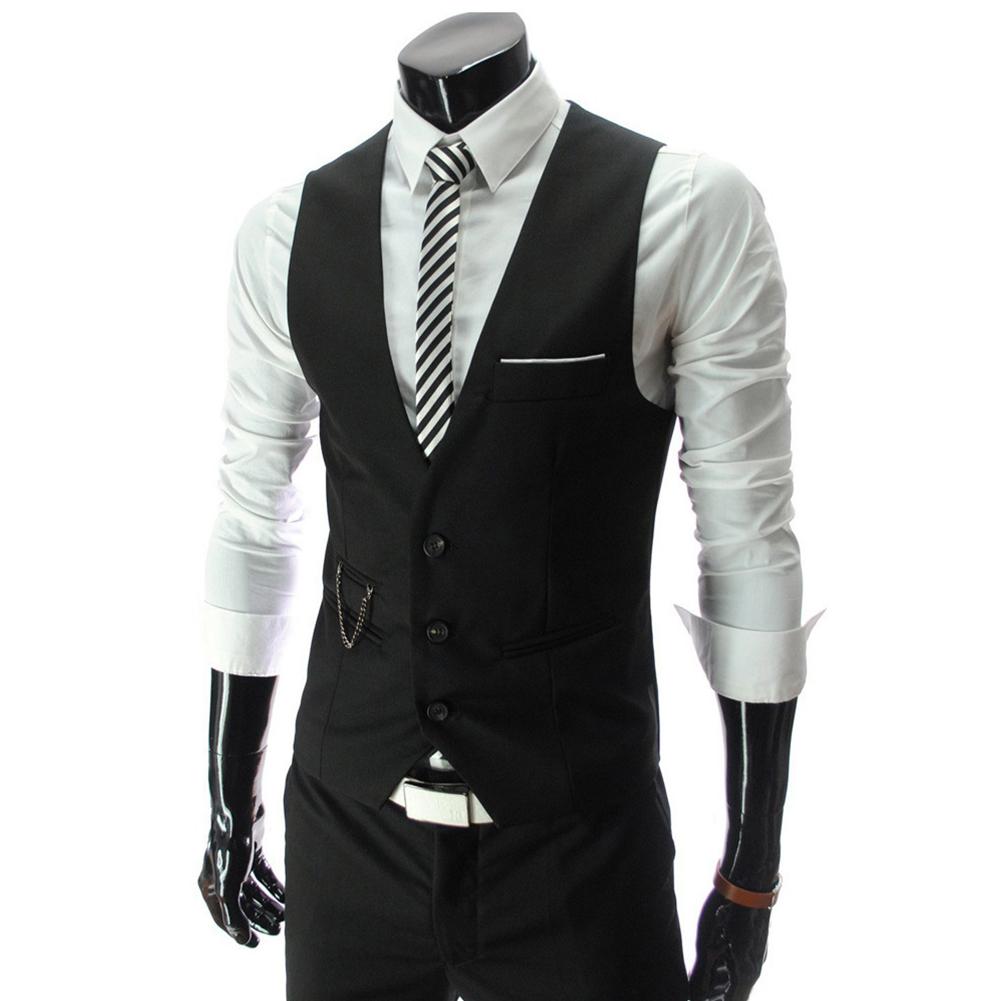 Men V-neck Fashion Slim Fit Suit Solid Color Casual Waistcoat black_L