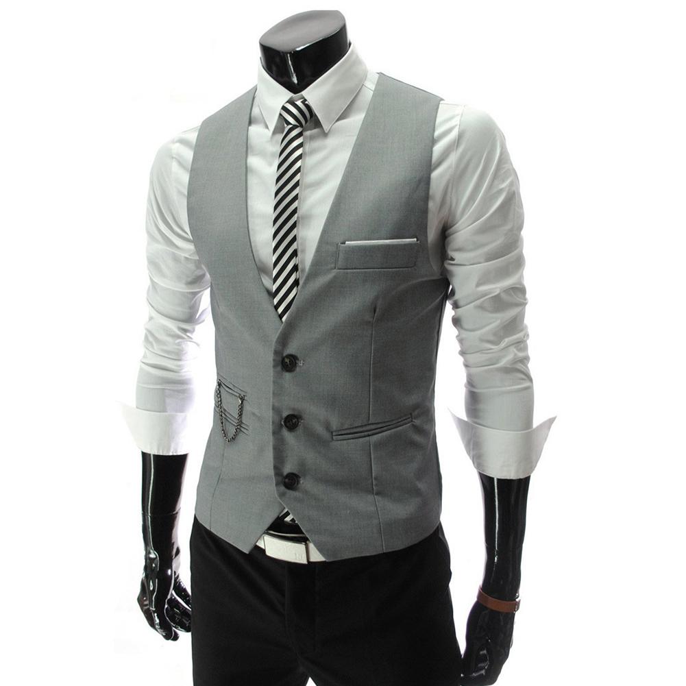 Men V-neck Fashion Slim Fit Suit Solid Color Casual Waistcoat gray_M