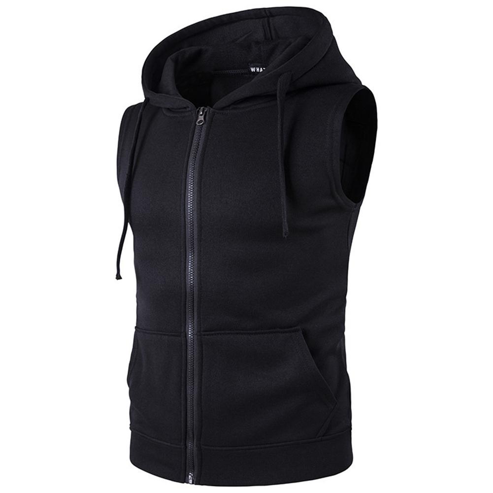 Men Women Sleeveless Hooded Tops Solid Color Zipper Fashion Hoodies  black_XXL