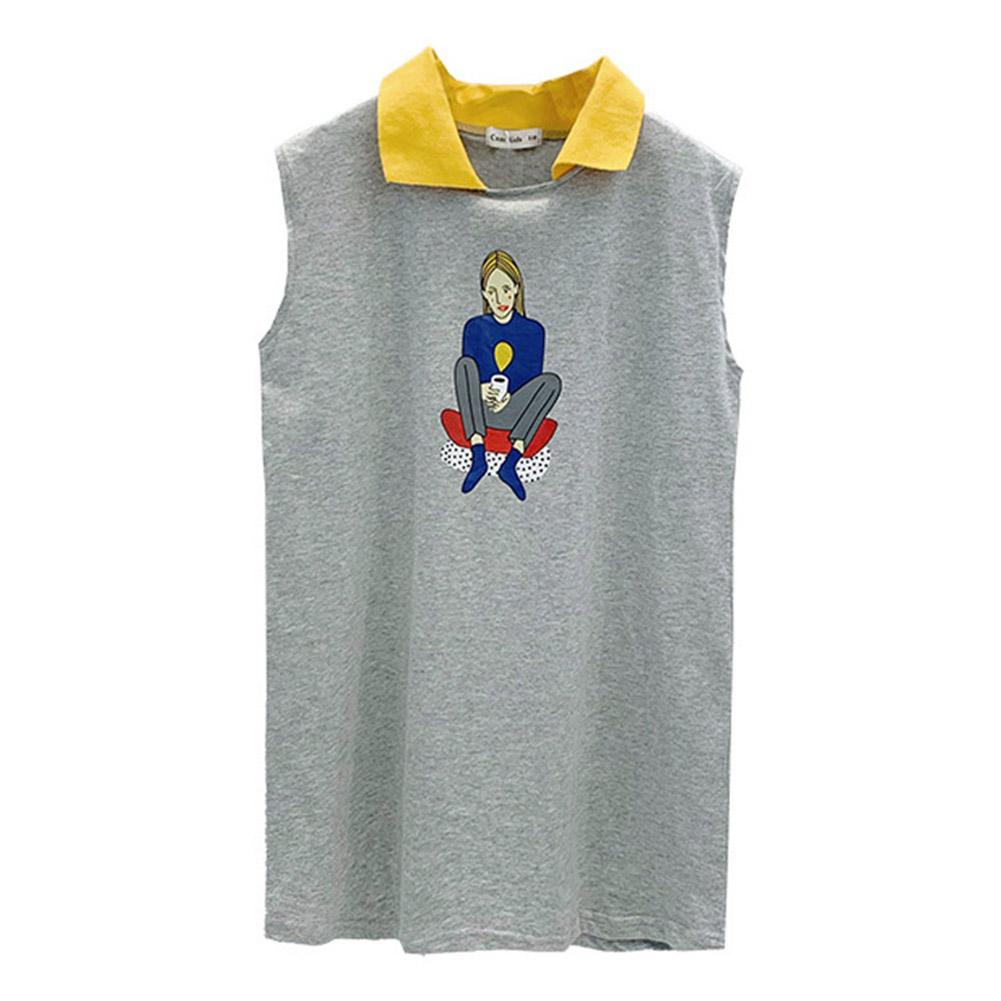 Girls Dress Sleeveless Lapel Shirt Long Dress for 3-8 Years Old Kids gray_140cm