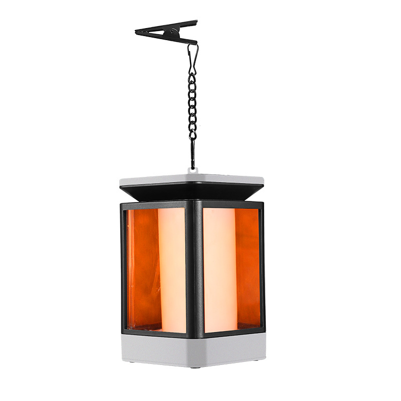 99 LED Light Solar Power Lantern Flame Lamp Eyes-friendly with 3 Adjustable Modes for Outdoor Landscape gray