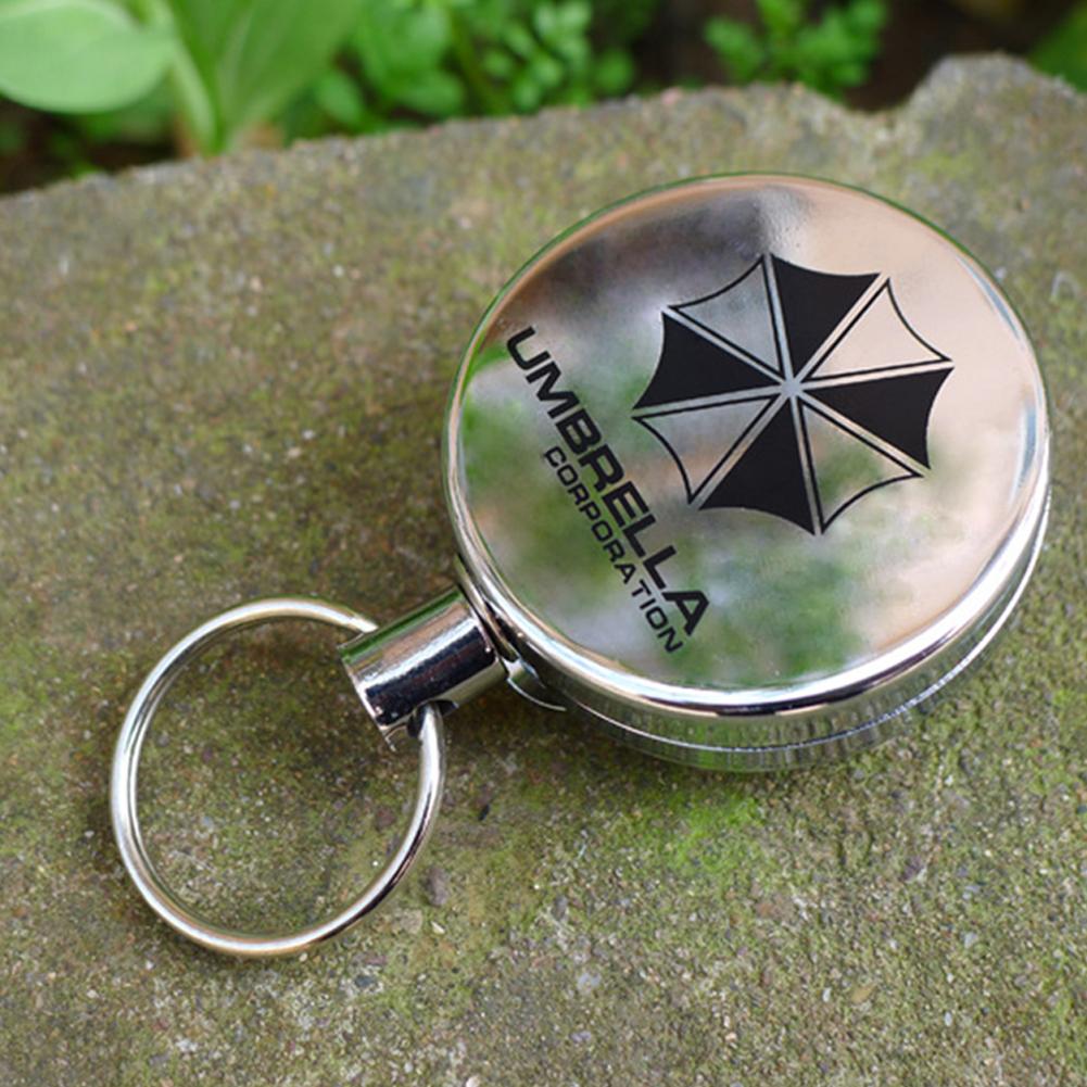 Metal Retractable Pull Key Chain Lanyard Tag Card Badge Holder Reel Recoil Belt Clip Umbrella type_4 cm diameter
