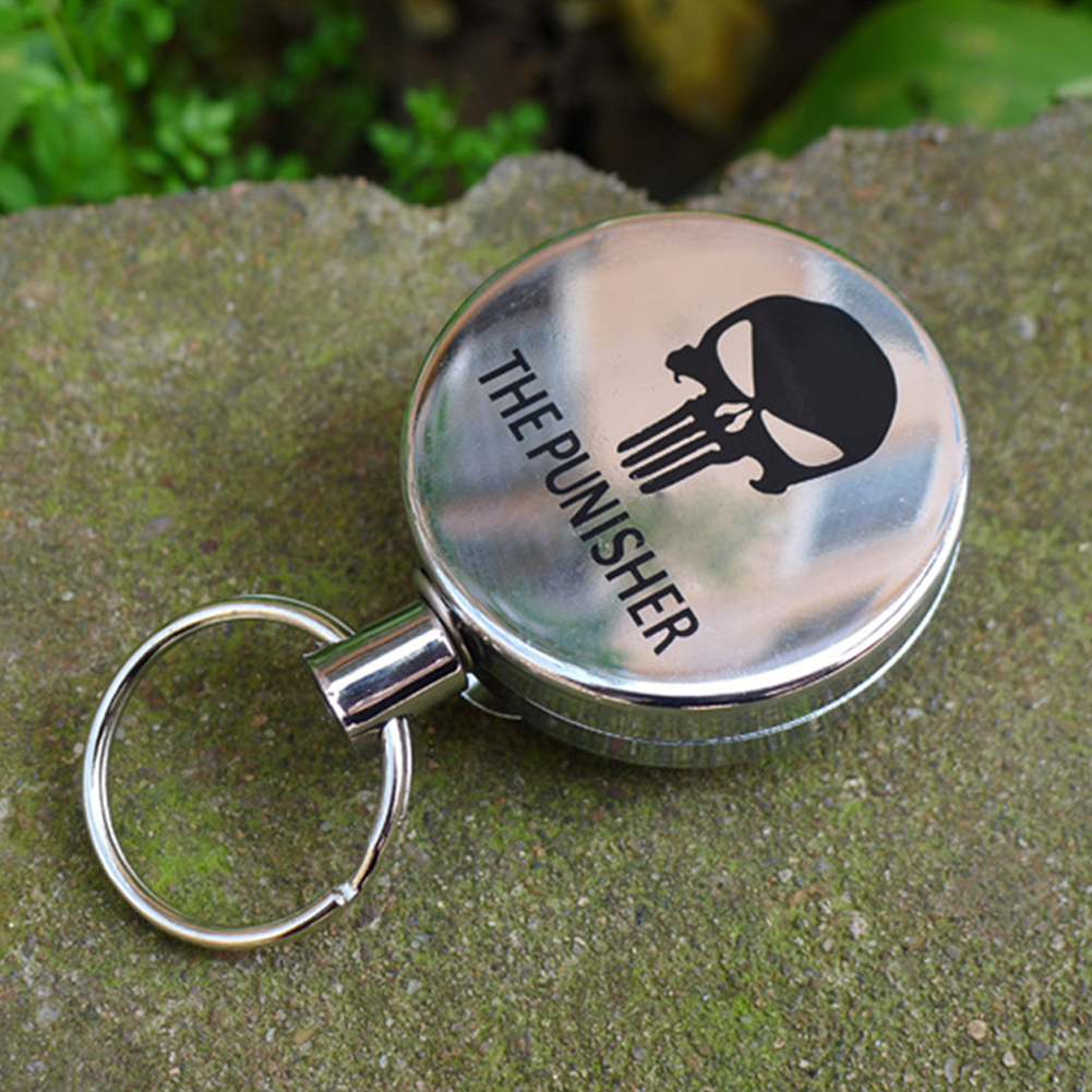 Metal Retractable Pull Key Chain Lanyard Tag Card Badge Holder Reel Recoil Belt Clip Skull type_4 cm diameter