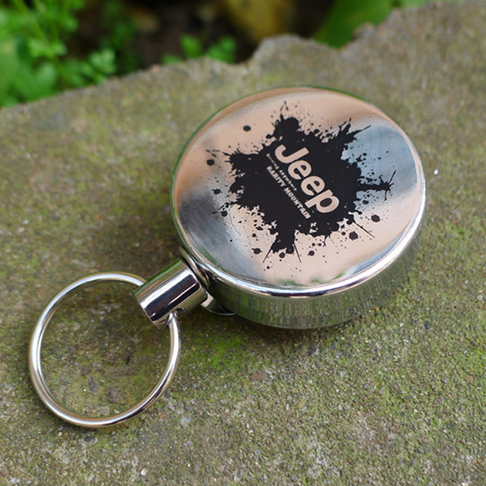 Metal Retractable Pull Key Chain Lanyard Tag Card Badge Holder Reel Recoil Belt Clip JEEP type_4 cm diameter