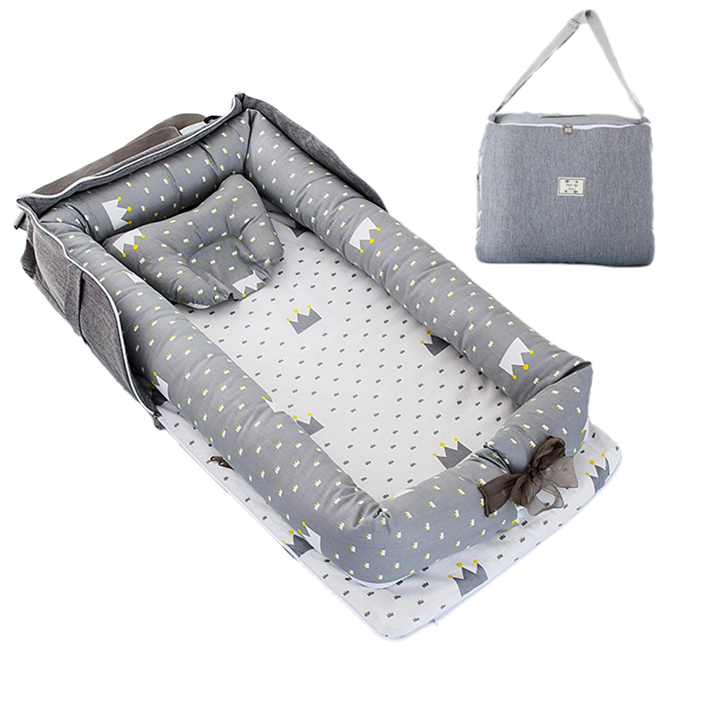 2pcs Portable Baby Nest Bed Pillow For  Boys  Girls Travel Bed Infant Cotton Cradle  Crib  Newborn  Bed Crown Grey_85x45