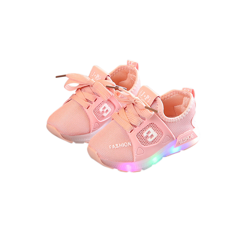 Unisex Children LED Light Shoes Sports Casual Anti-skid Baby Breathable Shoes  Pink_21 inner length 13cm