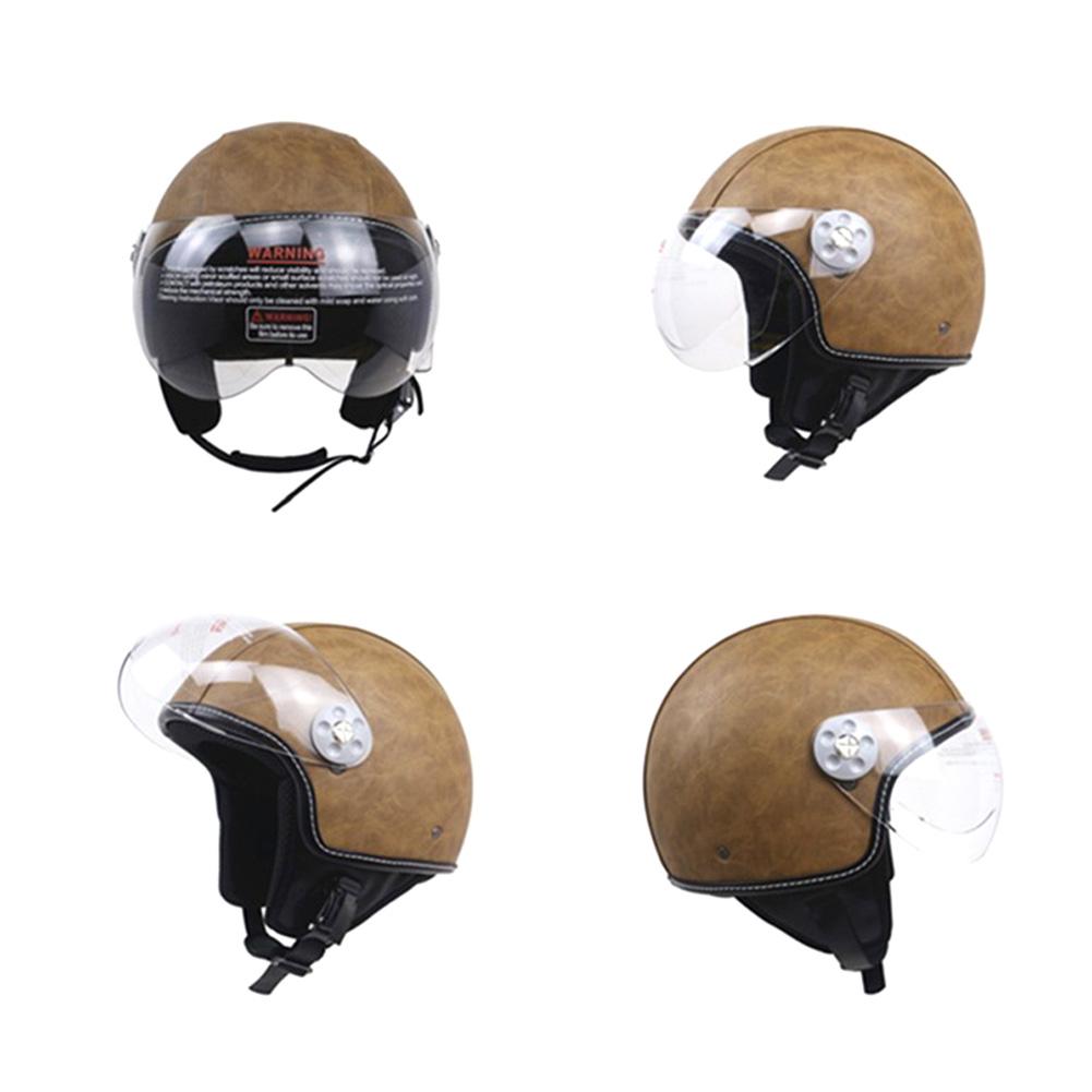 DOT Certification Helmet Leather Cover Scooter Vintage Helmet Vintage brown L