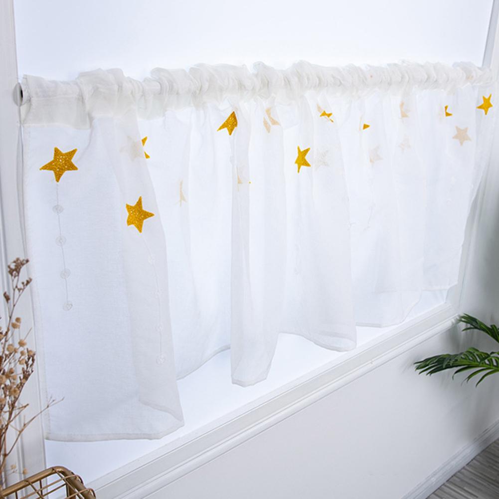 Hallway Curtain Star Kitchen Cabinet Short Embroidered Curtain yellow_100 * 50CM