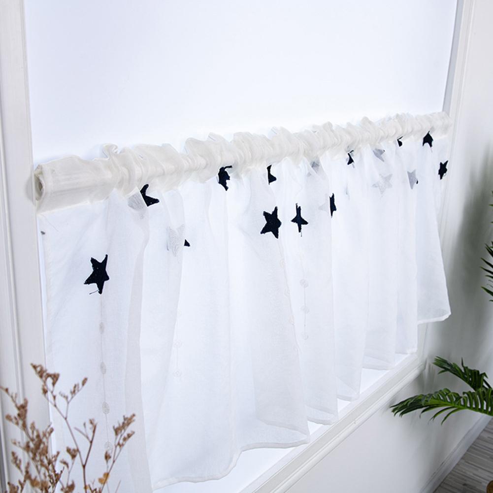 Hallway Curtain Star Kitchen Cabinet Short Embroidered Curtain Navy blue_100 * 50CM