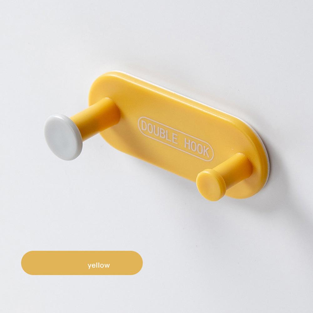 Storage Hooks Punch-free Bathroom Wall Hook Door Coat Rack Hanger Multi-functional Row Hook yellow
