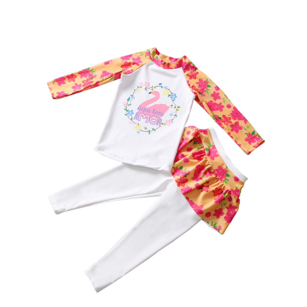 Kids Girls Cartoon Printing Quick Dry Long Sleeve Top Pants Muslim Swimwear Set Orange_L