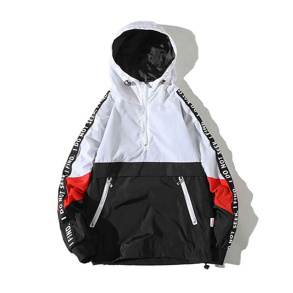 Men Spring Autumn Hooded Loose Large Size Pockets Jacket Coat white_L