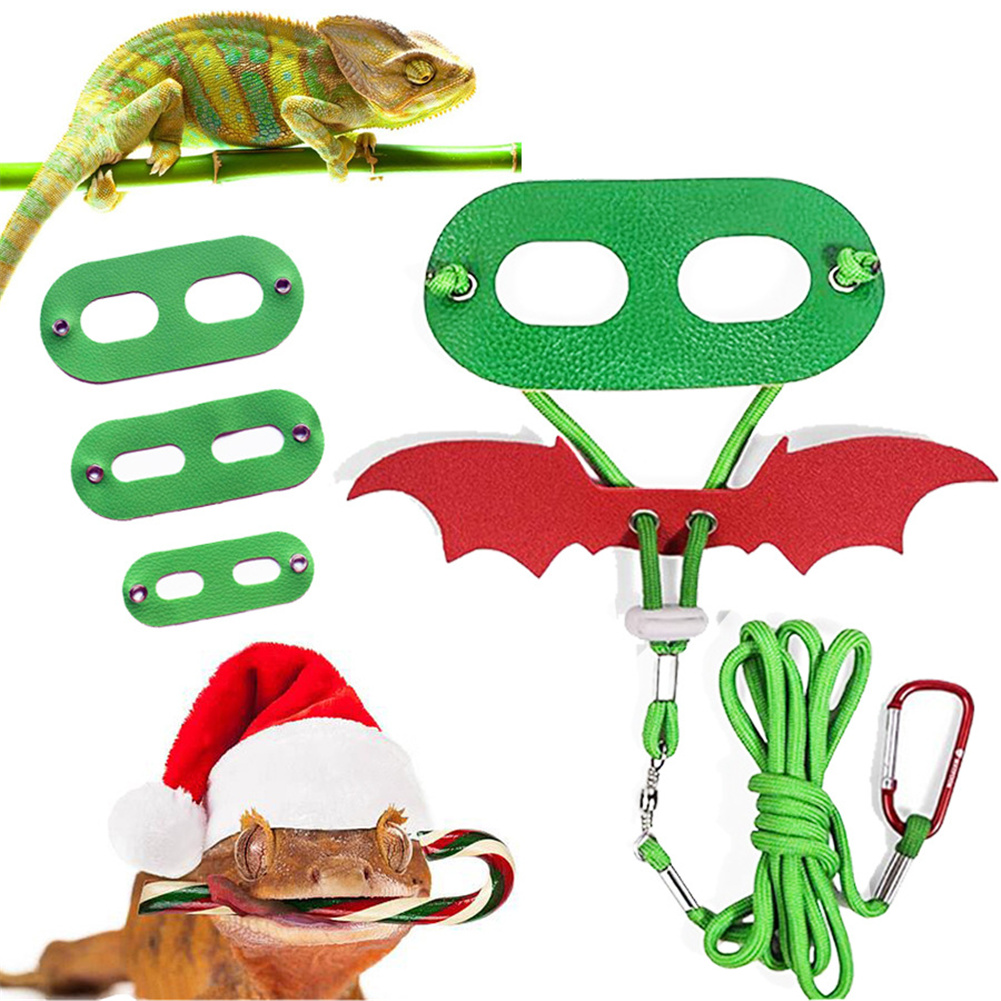 Wings  Shape  Pet  Harness  Leash  Rope Climbing Pet Out Traction Belt Walking Lizard Rope Christmas suit (including hat + traction rope)