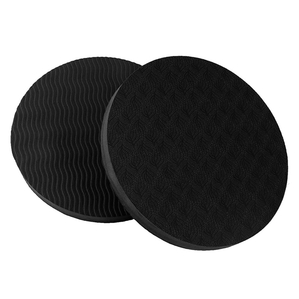 2PCS/Set Portable Round Knee Pad Yoga Mats Fitness Sprot Pad Plank Gym Disc Protective Pad Cushion black_17.5cm in diameter