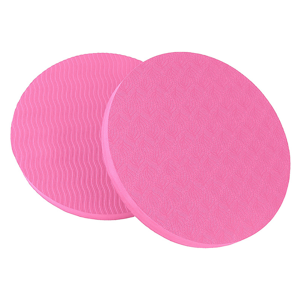 2PCS/Set Portable Round Knee Pad Yoga Mats Fitness Sprot Pad Plank Gym Disc Protective Pad Cushion red_17.5cm in diameter
