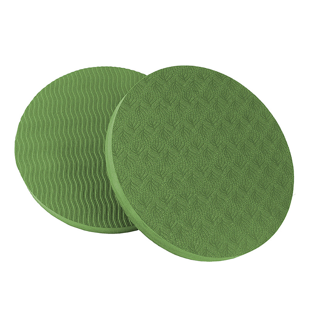 2PCS/Set Portable Round Knee Pad Yoga Mats Fitness Sprot Pad Plank Gym Disc Protective Pad Cushion green_17.5cm in diameter