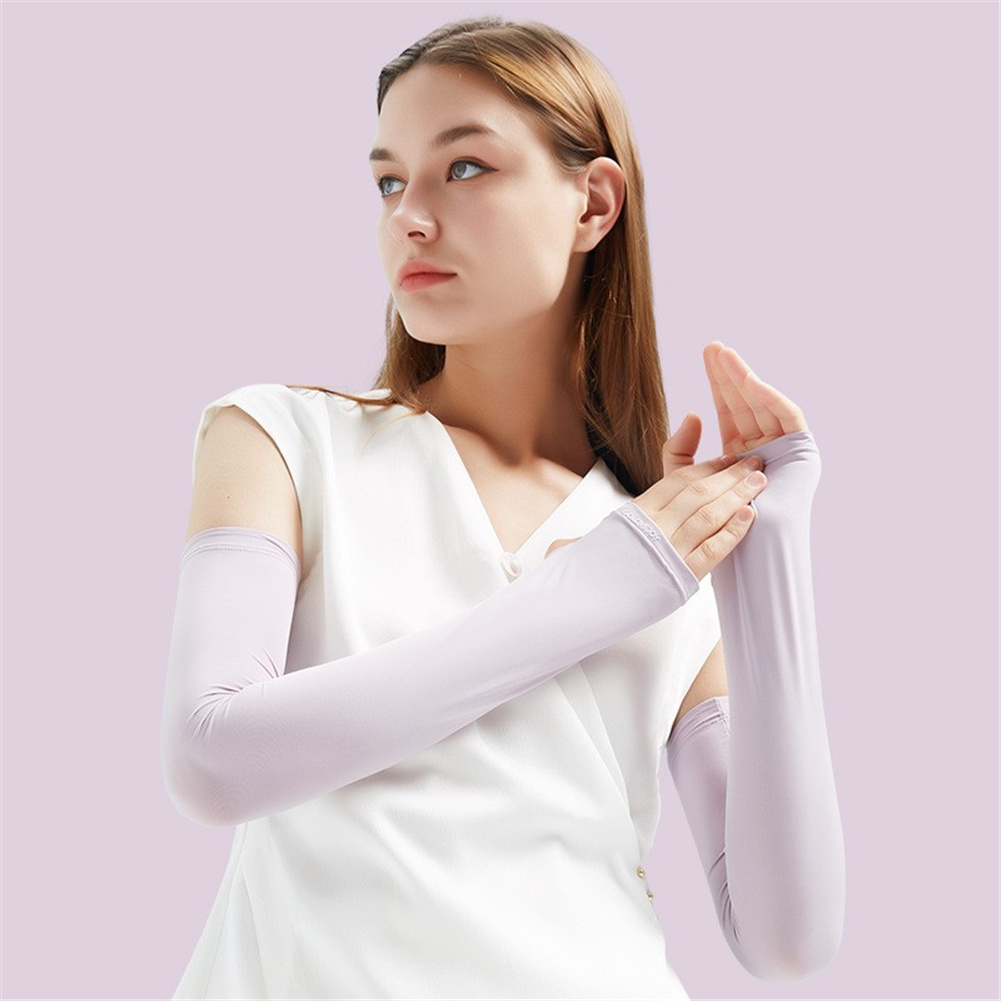 1pair Summer Ice Silk Sunscreen  Sleeve Breathable Quick-drying Gloves For Outdoor Riding Fishing HB16 purple_S