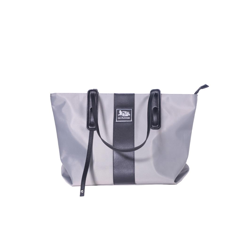 Women Fashion Shoulder Handbag Large Capacity Bucket Tote Bag Drone Storage Pouch Light gray + silk scarf