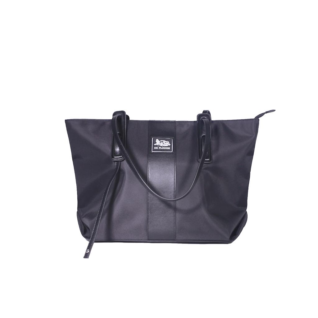 Women Fashion Shoulder Handbag Large Capacity Bucket Tote Bag Drone Storage Pouch Black + silk scarf