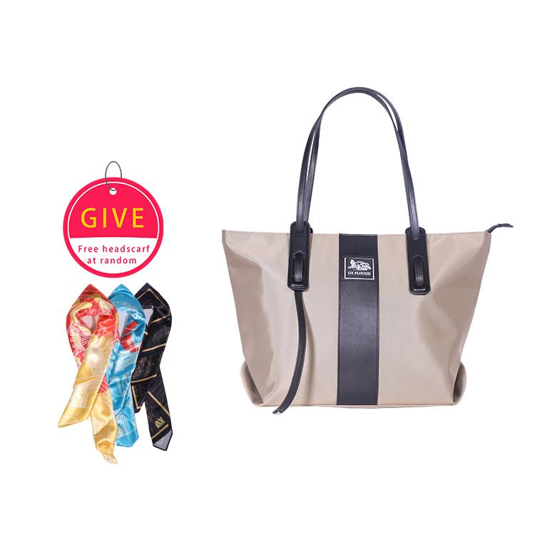 Women Fashion Shoulder Handbag Large Capacity Bucket Tote Bag Drone Storage Pouch Khaki + silk scarf