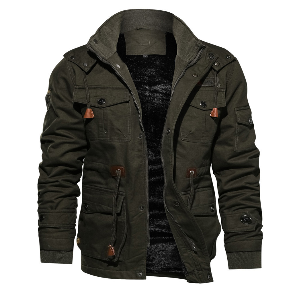 Men Autumn And Winter Fleece Lined Thickening Embroidered Cotton Hooded Jacket Coat Tops ArmyGreen_M