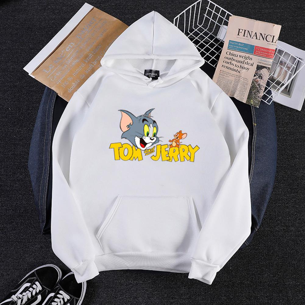 Men Women Hoodie Sweatshirt Tom and Jerry Thicken Velvet Loose Autumn Winter Pullover Tops White_M