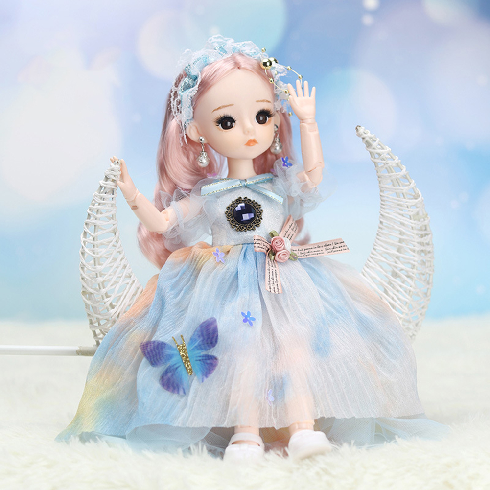 12-inch Joint  Doll Cute Style Real Eyelashes Princess Doll Toy For Kids (no Music + Bag) A1
