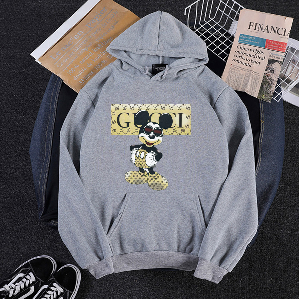 Men Cartoon Hoodie Sweatshirt Micky Mouse Autumn Winter Loose Student Couple Wear Pullover Gray_XL