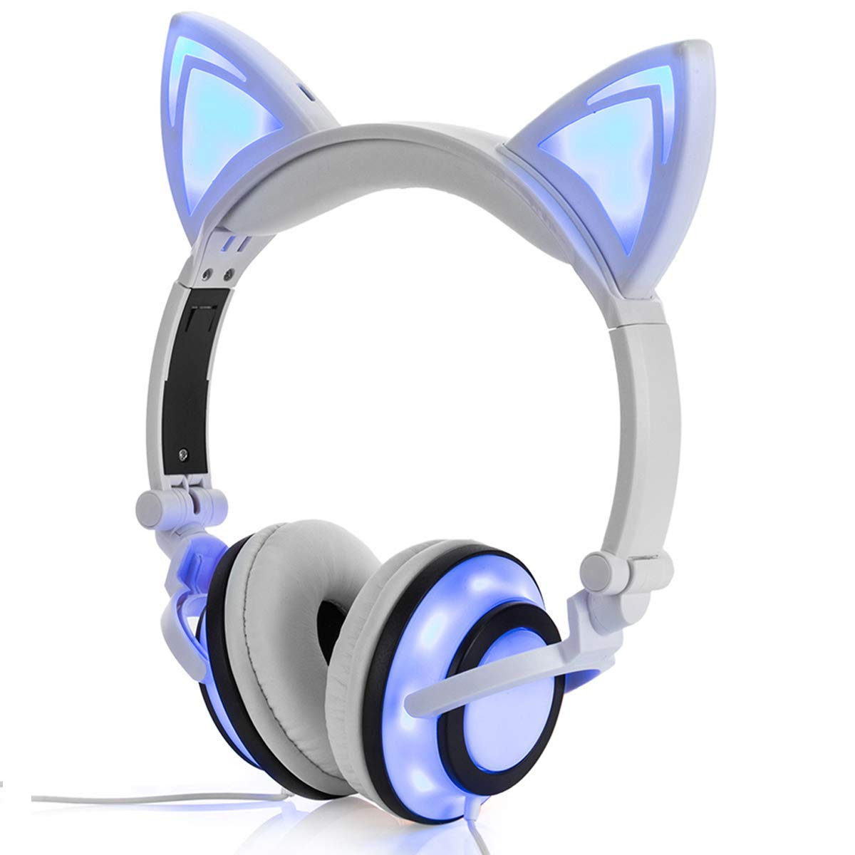 Cute Cat Ear Headset LED Light with USB Chargeable Foldable Earphones for Ipad,Tablet,Computer,Mobile Phone  white