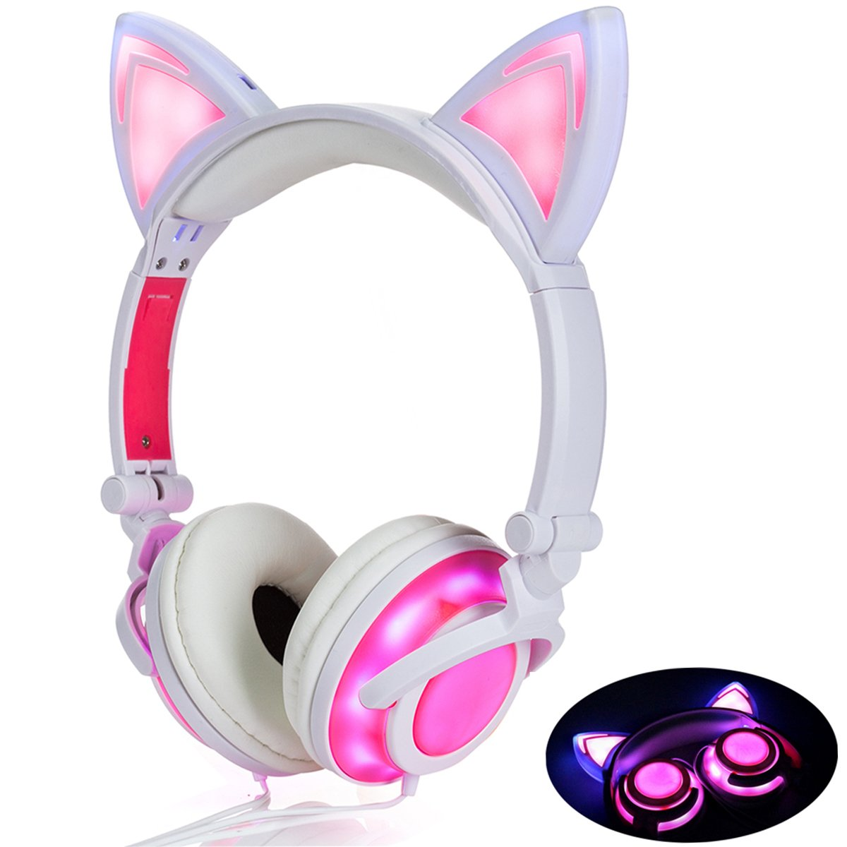 Cute Cat Ear Headset LED Light with USB Chargeable Foldable Earphones for Ipad,Tablet,Computer,Mobile Phone  Pink