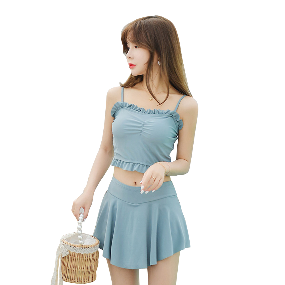 2 Pcs/set Women Swimsuit Lace Solid Color Sling Top + Swimming Skirt Light blue_l