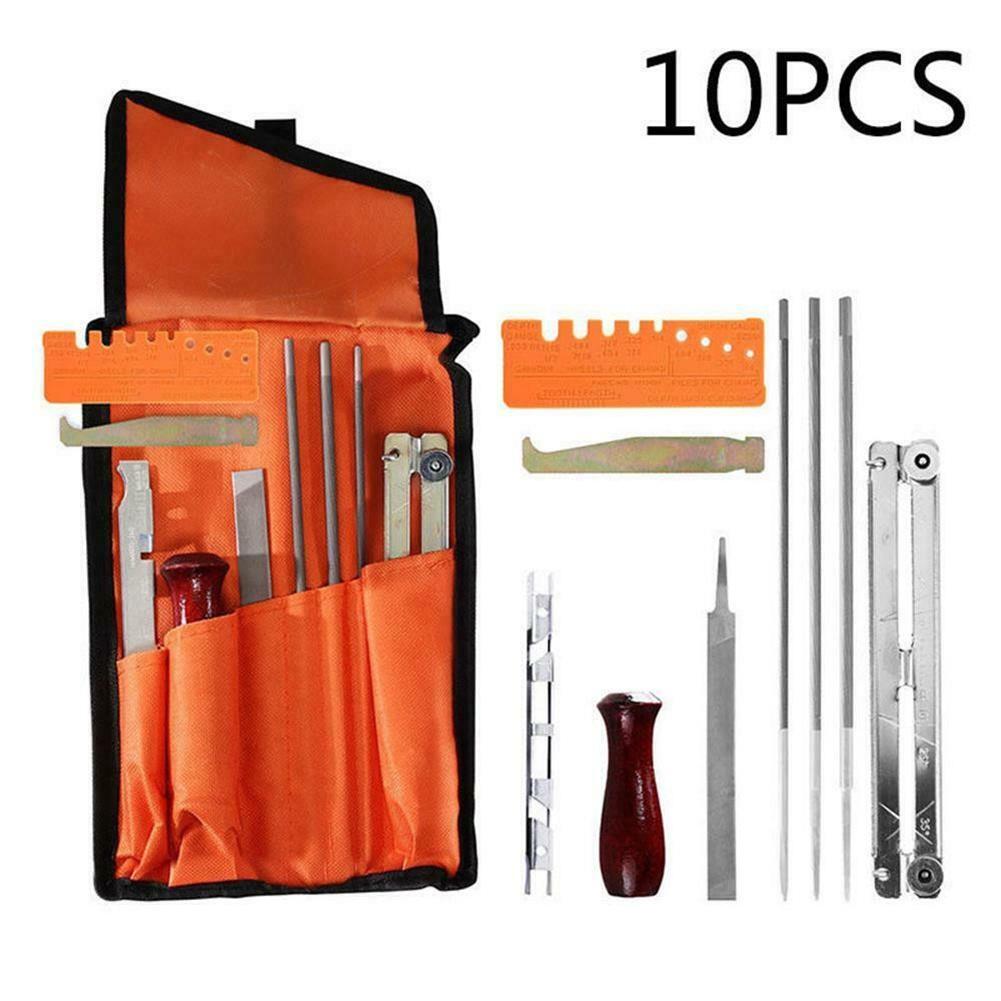 10pcs/set Chain  Saw    Sharpening  Set Sharpen Files Tool Kit With Storage Bag 10-piece set