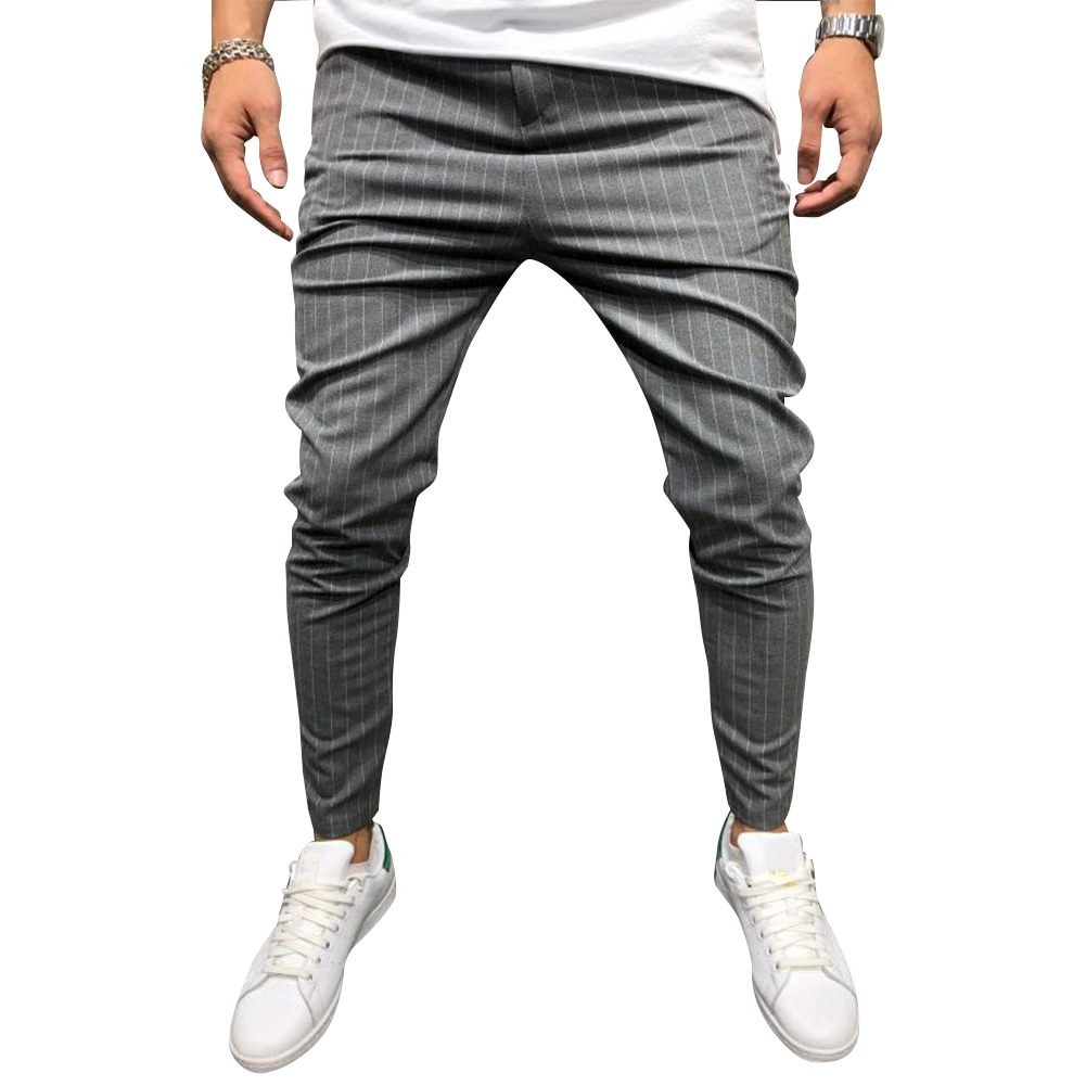 Men Casual All-match Stripe Twill Harem Pants Dark gray_XL