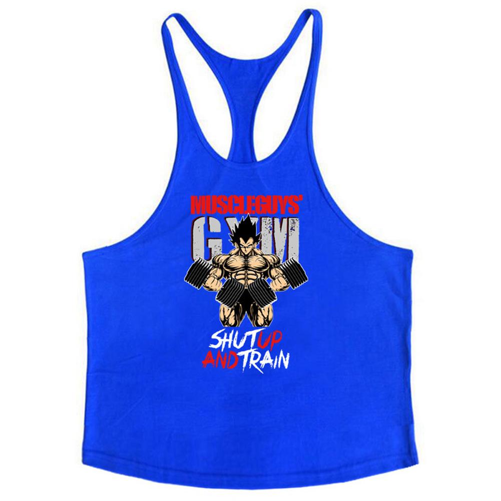 Men Muscle Bodybuilding Shirt Breathable Fitness Sport Vest blue_XL