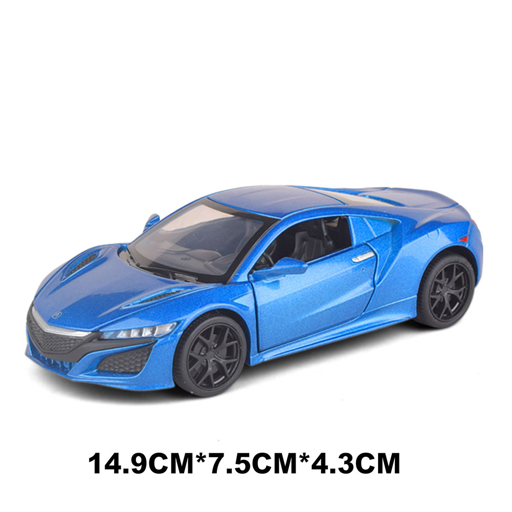 Children 1/32 Simulation Alloy Pull back Sound and Light Simulation Car Mold Gift Ornaments Decoration blue