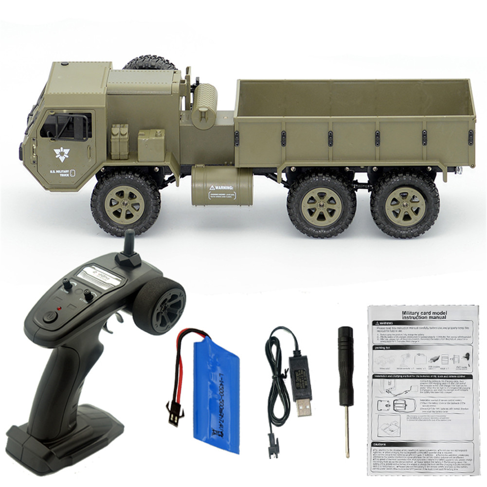 Fayee FY004A 1/16 2.4G 6WD Rc Car Proportional Control US Army Military Truck RTR Model Toys Without a single camera+1 battery_1:16