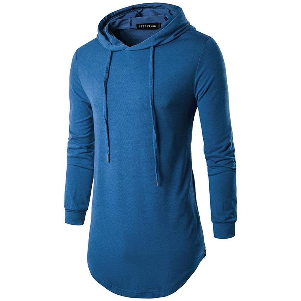 Unisex Fashion Hoodies Pure Color Long-sleeved T-shirt blue_L