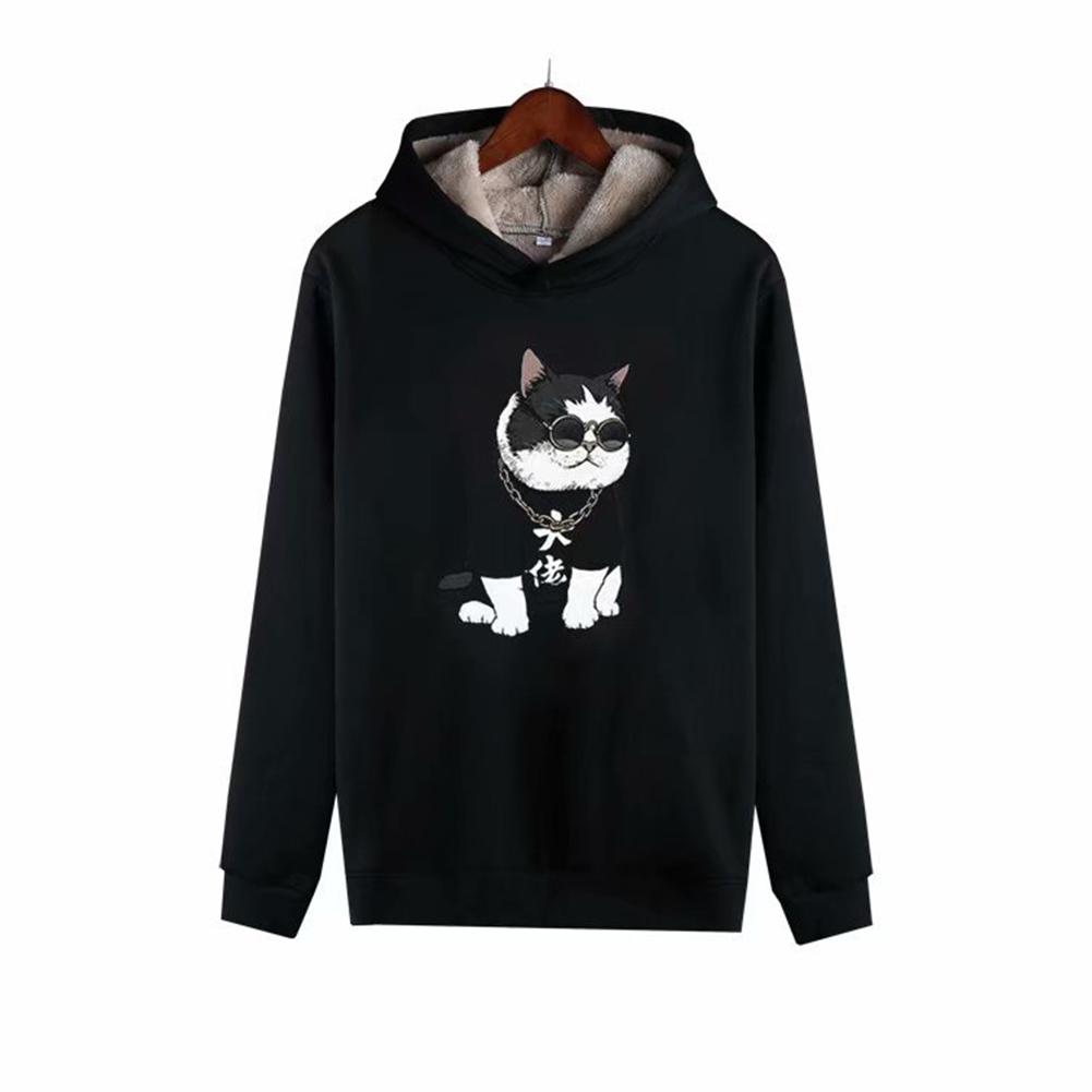 Men Autumn Winter Pullover Hooded Sweater Loose Long Sleeve Fleece Line Tops Hoodie 1#_L