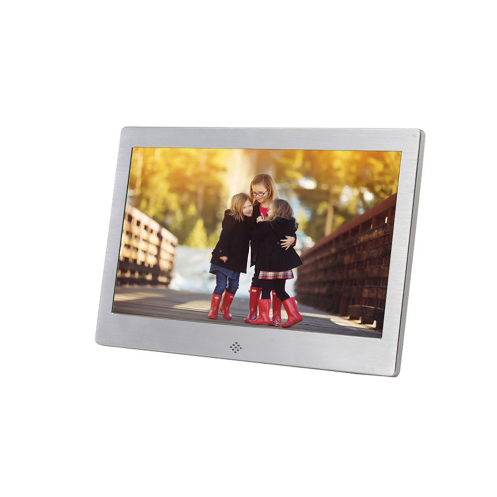10 Inch Metal LED Digital Photo Frame Video Music Calendar Clock Player 1024x600 Resolution  silver EU plug